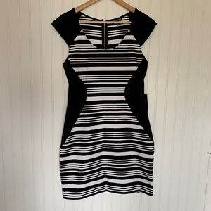 Express New hourglass bodycon stripes cap sleeve L